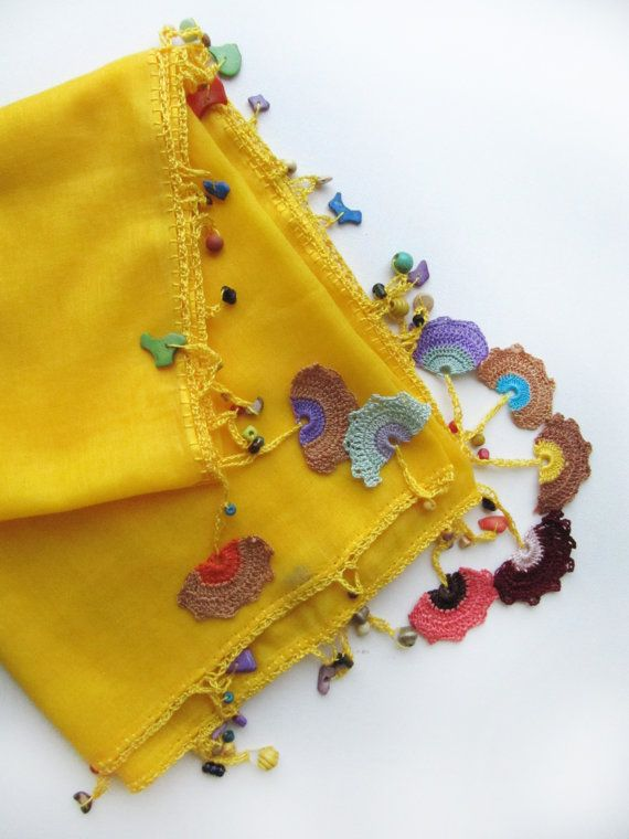 Yellow scarf made by bead and lace handiwork on by SEVILSBAZAAR, $24.90 (Turkish oya-Sevil Bazaar)