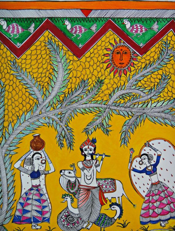 A scene from Mithila festival Original Madhubani by Swarag on Etsy, $90.00