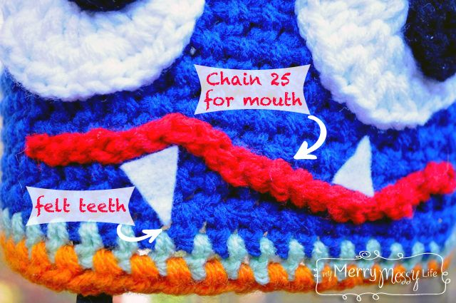 My Merry Messy Life: Crochet Monster Hat - Teeth and Mouth