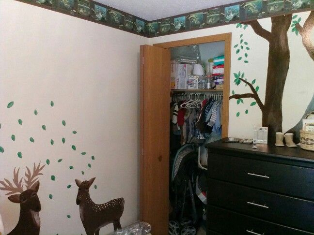 Baby boy nursery. Space above deer left for his name.