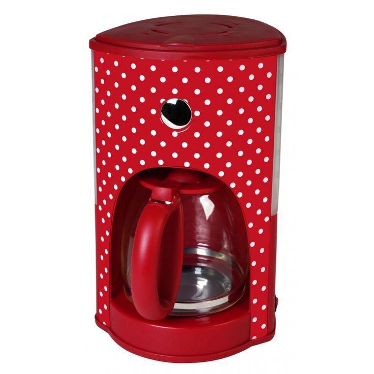 Koffiezetapparaat polkadot rood met witte stippen - 1000W - Kalorik #koffie #roodmetwittestippen #dots #polkadot
