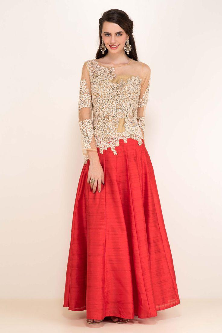 ZAYAH Beige And Orange Floral Gown #flyrobe #wedding #weddingoutfit #flyrobeweddings #receptionoutfits #designerwear #designergown #receptiongown