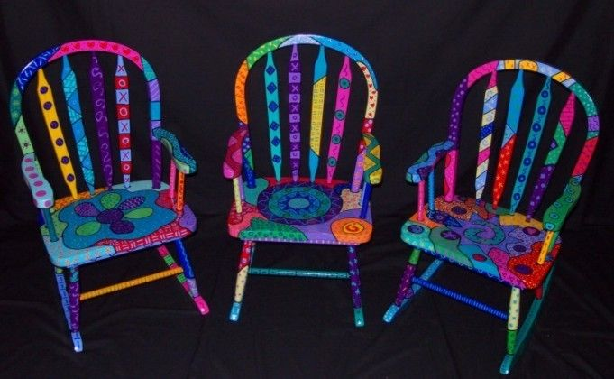 hand painted kids rockers | These chairs were commissioned for three small children.