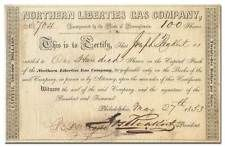 Northern Liberties Gas Company Stock Certificate (1840's and 1850's)