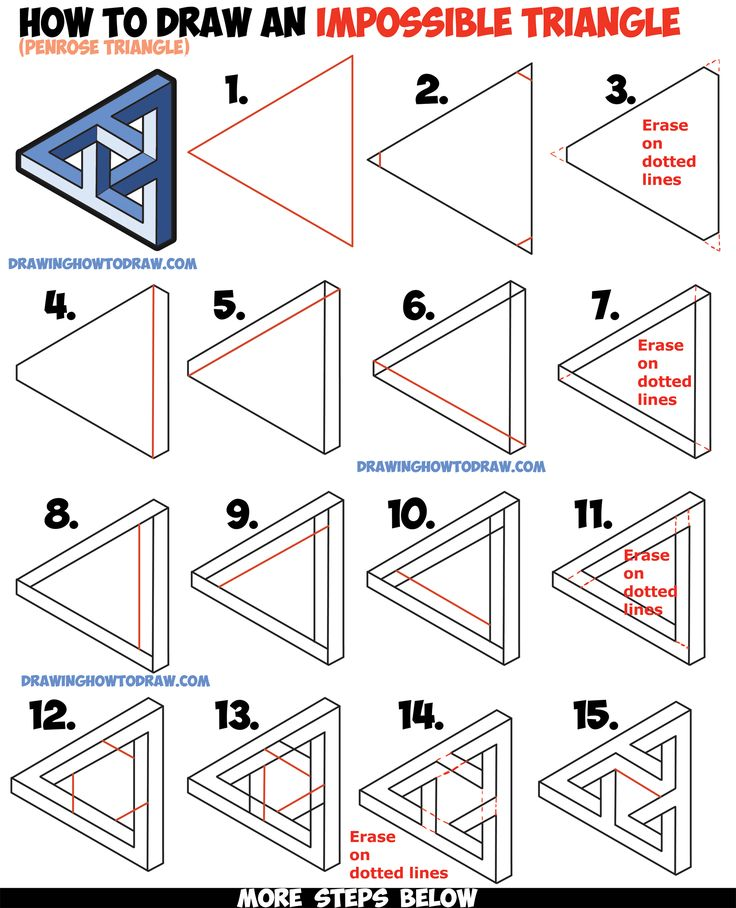 How To Draw An Impossible Triangle (Penrose Triangle) That Looks Woven In A  Celtic