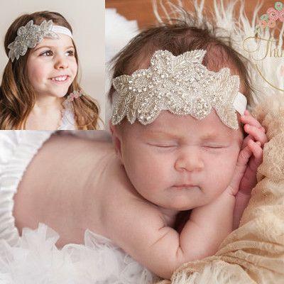 1 개 소매 여자 아기 귀여운 머리띠 라인 석 꽃 잎 머리띠 어린이 어린이 헤어 액세서리 사진 소품