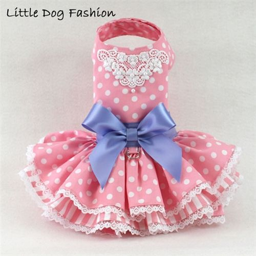 Lacey Pink Polka Dot Dresses for Dogs