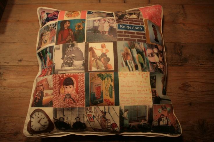 Een kussen met oude foto's en herinneringen voor mijn zus die 50 jaar werd. Gemaakt met grote hulp van Ursula