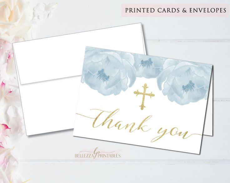 Elegant Boy Baptism, Boy Baptism Card, Boy Baptism Thank You, Thank You Card, Photo Thank you, Printed Thank You Card, Folded Thank You by BellezzaPrintables on Etsy