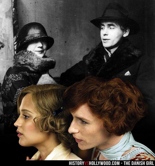 Gerda Wegener and transgender artist Einar Wegener, who became Lili Elbe. Alicia Vikander and Eddie Redmayne in The Danish Girl movie. See more pics at http://www.historyvshollywood.com/reelfaces/danish-girl/