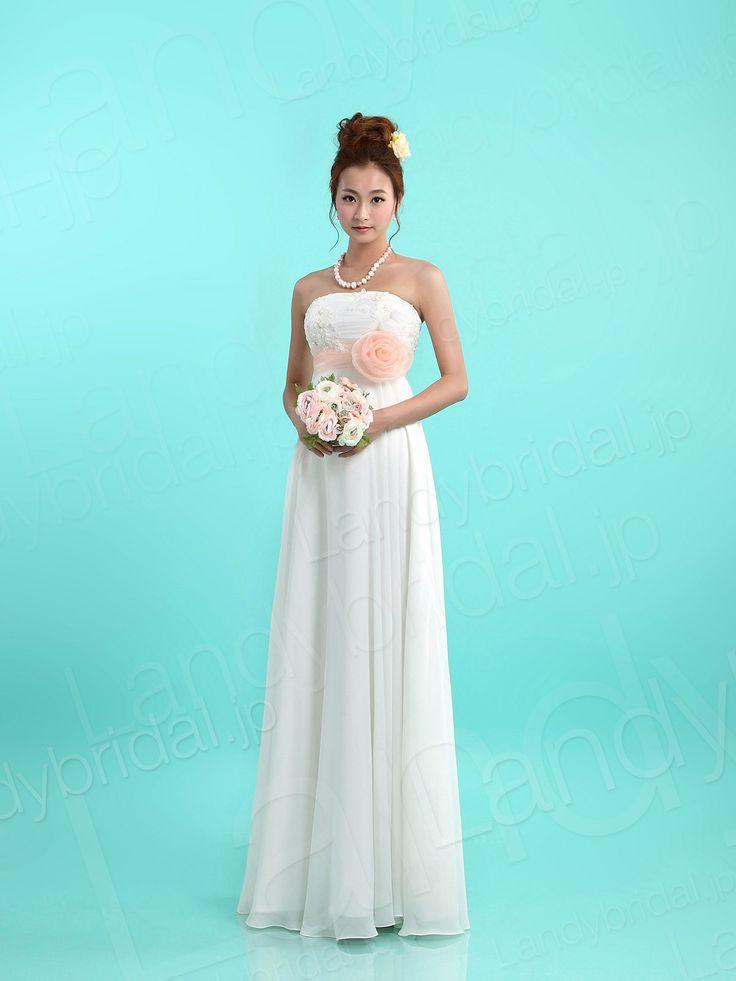 既成品ウェディングドレス 二次会ドレス 新品 可愛いコサージュ シフォン オーガンジ ブライダル ld2858