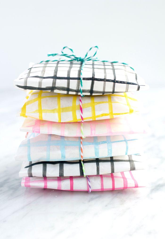 diy watercolor treat bags