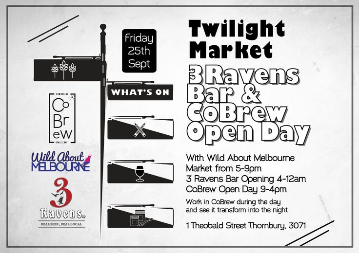Wild About Melbourne Twilight Market as part of 3 Ravens Brewery Bar Opening and CoBrew Open Day. Friday September 25th 5-9pm 1 Theobald St, Thornbury. www.wildaboutmelbourne.com