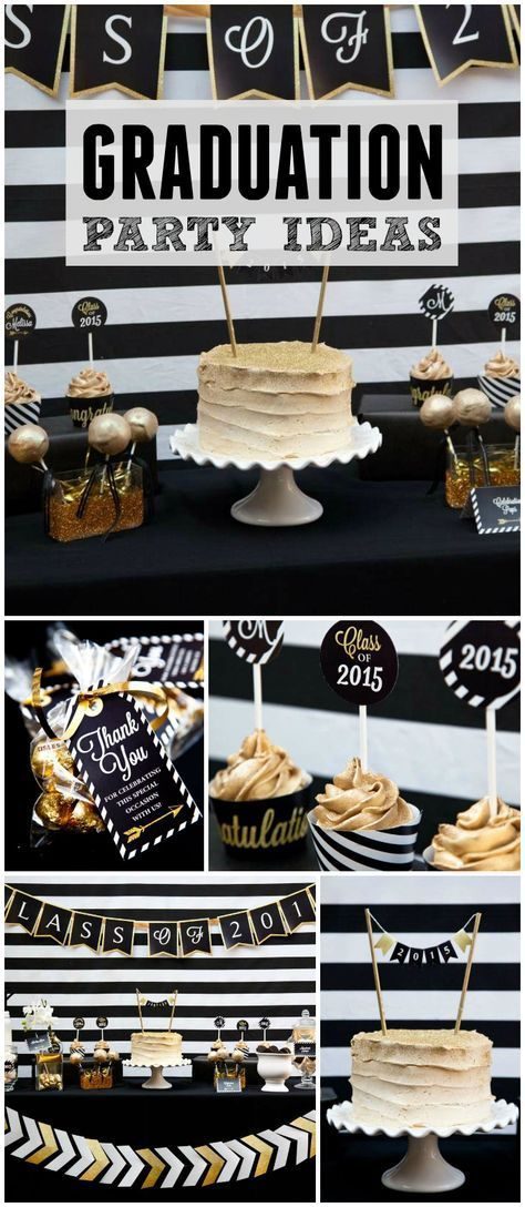 Loving this black and gold glitter graduation party! See more party ideas at CatchMyParty.com!