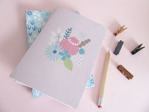 A5 Botanical Notebook or Journal in Pink With Flowers by AlicePotter