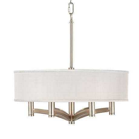Cream Textured Silk Ava 6 Light Nickel Pendant Chandelier