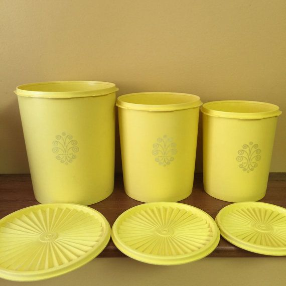 Tubberware Canister Set Bright Yellow with lids by Ourstuffct
