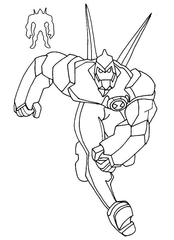 Ben 10 Pursue The Enemy Coloring Pages For Kids Printable
