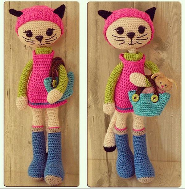 Crochet Amigurumi Cat. (Pattern by amigurumipatterns.net ) Made by Kozmik Hamambocegi