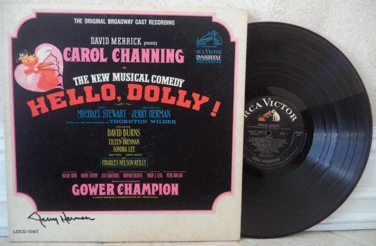 JERRY HERMAN MUSICAL COMPOSER HELLO DOLLY SIGNED AUTO VINYL RECORD ALBUM W/COA