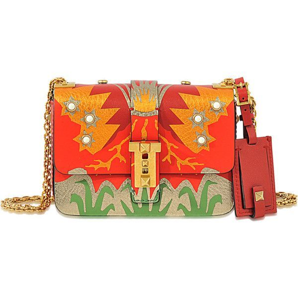Valentino Garavani Rockstud Volcano Micro Bag ($2,075) ❤ liked on Polyvore featuring bags, handbags, multicoloured, multi coloured bags, multi color purse, multi colored purses, red handbags and colorful handbags