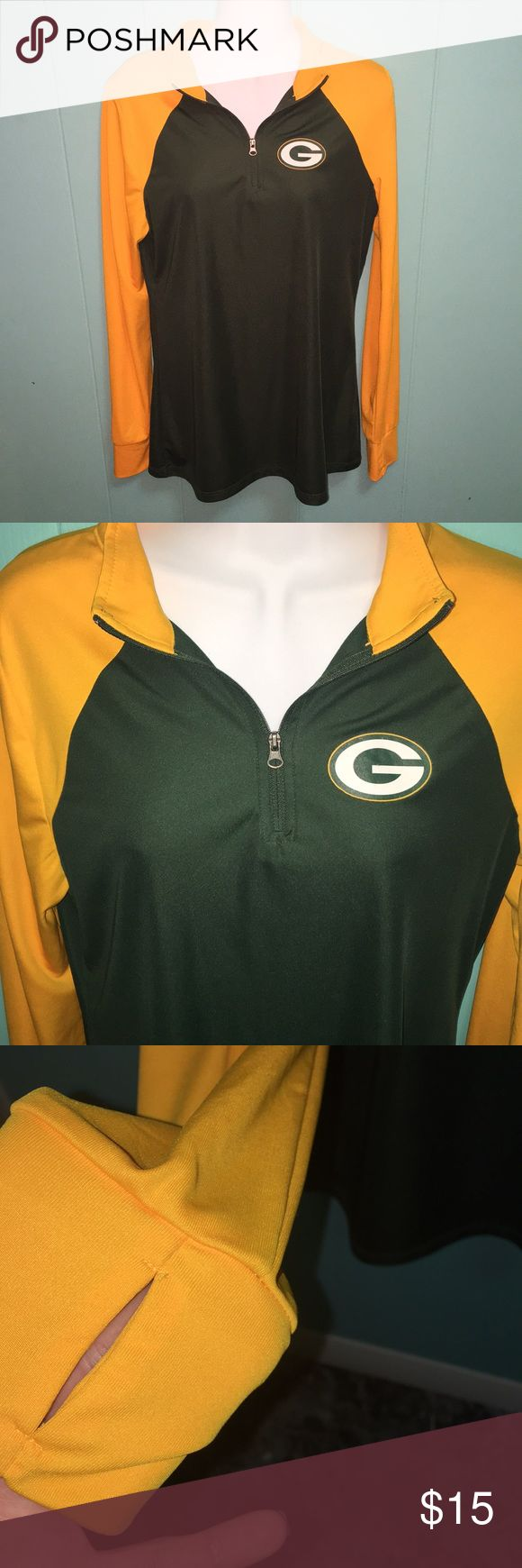 Green Bay packers NFL athletic fit half zip Women's Green Bay packers half zip athletic top. Thumb holes on cuffs. Size large women's Tops Tees - Long Sleeve