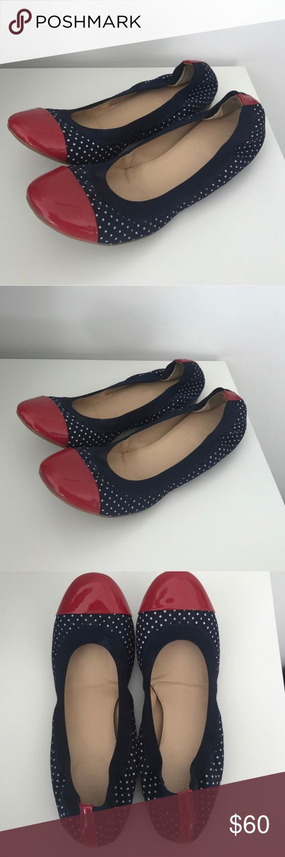 J.Crew Polka Dot red white & blue Ballet Flats Made in Italy. JCrew ballet flats. Red white and blue. In good condition; worn only a handful of times.  Looks great with blue jeans or a flowy skirt. Will be a great addition to your spring wardrobe! J. Crew Shoes Flats & Loafers