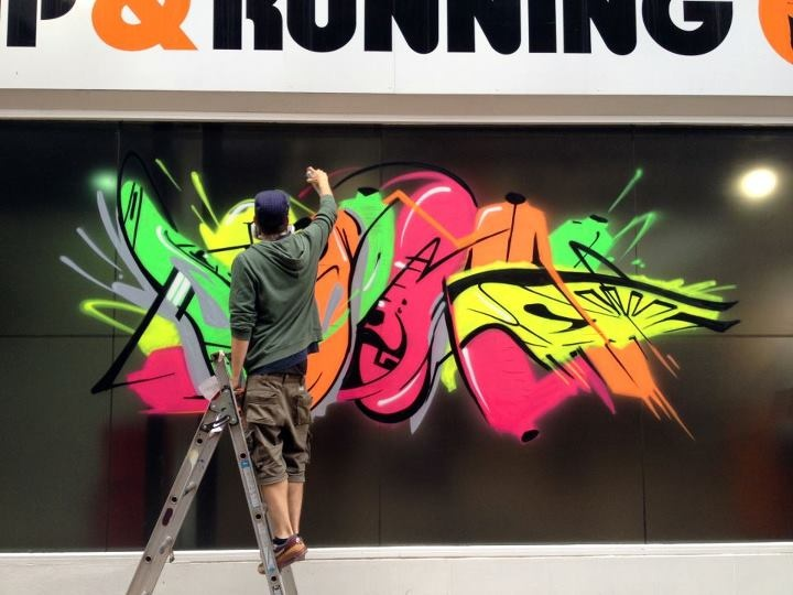 Client: Brooks Sport   Graffiti Logo Design and Shop Window Display