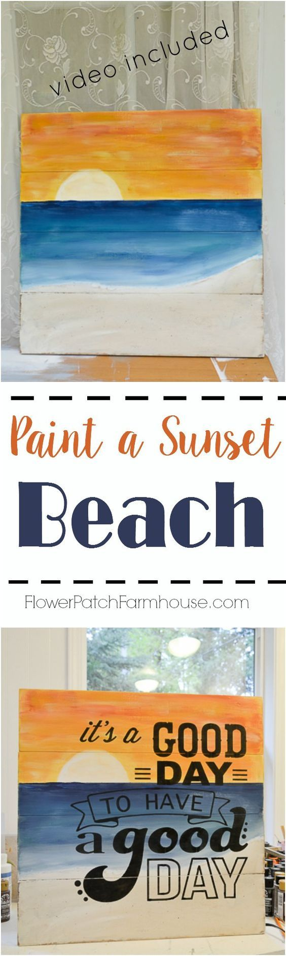 How to Paint a Sunset Beach Scene or Seascape. Great for paint parties or a gift for dad's, grads or grands!