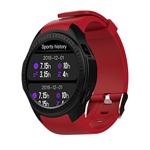 Kassica GPS Smartwatch Bluetooth Smart Watches Heart Rate Blood Pressure SIM Card Sports Fitness Tracker with Compass Stopwatch Altitude Sleep Monitor for Android IOS Smart Device (Red). 【GPS Movement Trajectory Sports Watch】To accurately generate your movement trajectory through the built-in GPS sensor, Data synchronization to the cellphone end and generate a map, Support the involvement of Wechat movement, share your joy in Friends moments at anytime. 【Real-time Track your Heart Rate…