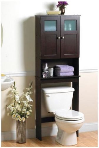 This Over The Toilet Storage Space Saver Cabinet Is A Free Standing  Furniture Piece That Adds Easy Storage For Towels And Other Bathroom  Necessities.
