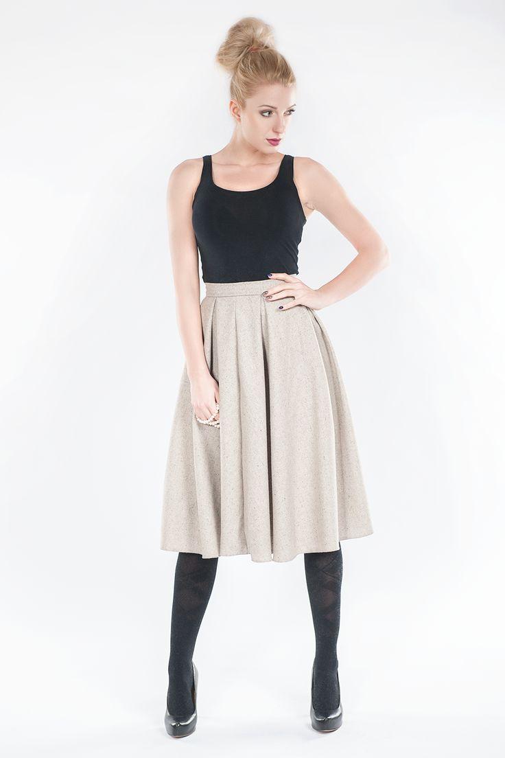 Rozkloszowana spódnica - beżowa SL6067 www.fajne-sukienki.pl