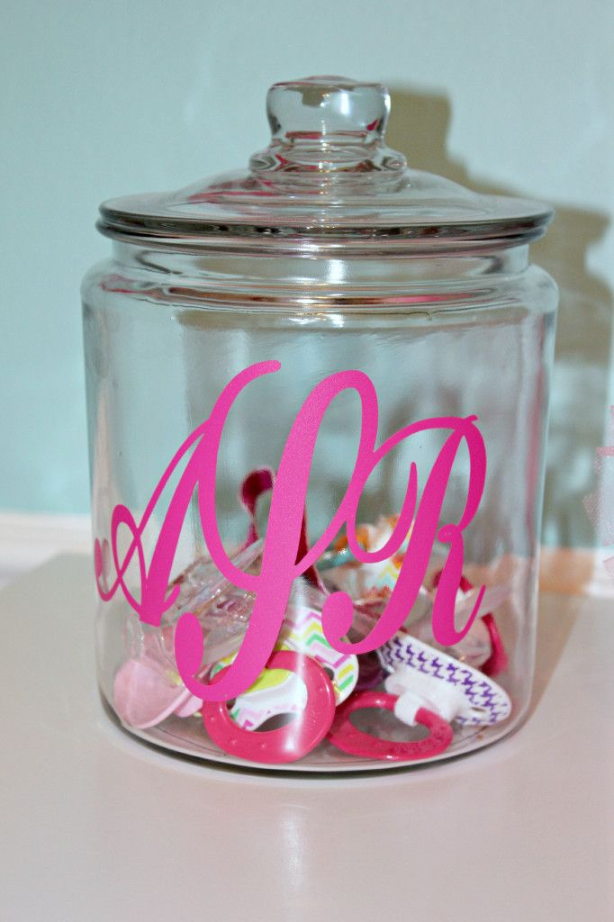 Monogrammed glass jar for holding pacifiers - #nurseryBows Holders, Pacifiers Jars, Monogram Pacifier, Girls Room, Glasses Jars, Baby Girl Nursery Room Storage, Monograms, Hair, Holding Pacifiers