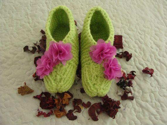 Women Slippers, Winter slippers,Home slippers, Hand Knitted, Handmade socks, Christmas gift