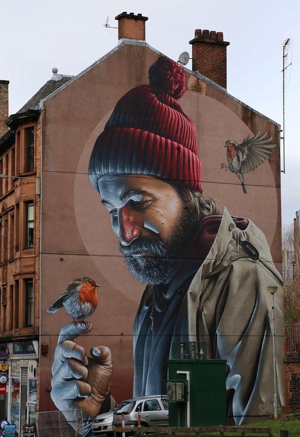 Фотореалистичный стрит-арт в Глазго фотография, стрит-арт, Великобритания, Шотландия, Глазго, длиннопост