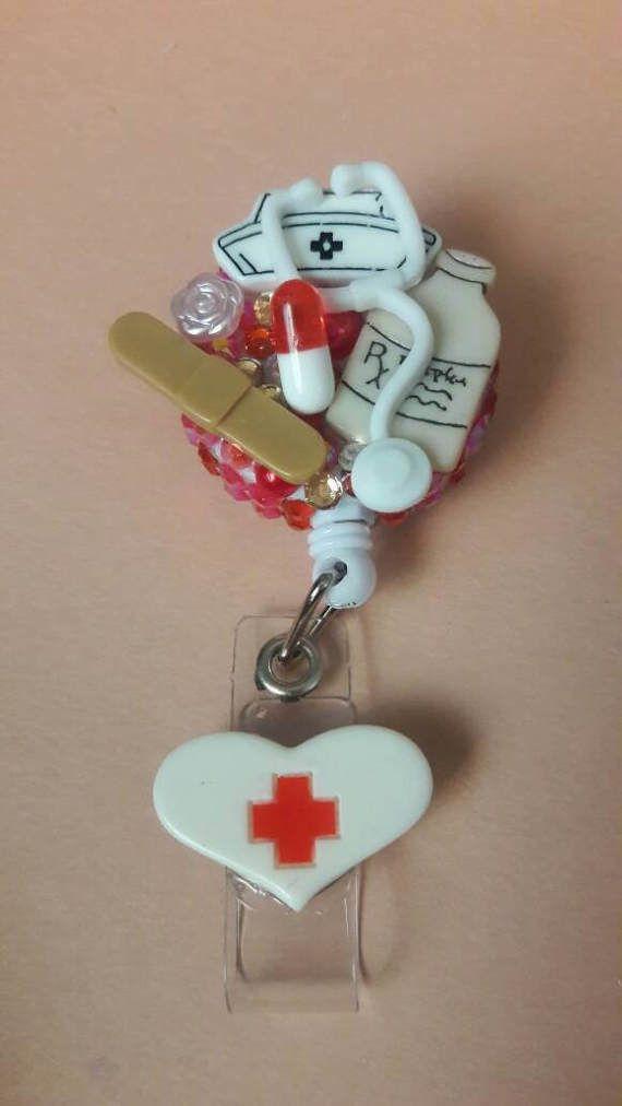 Trots Nurse Nursing Badge Reel werk ID badge houder door reelsbycece