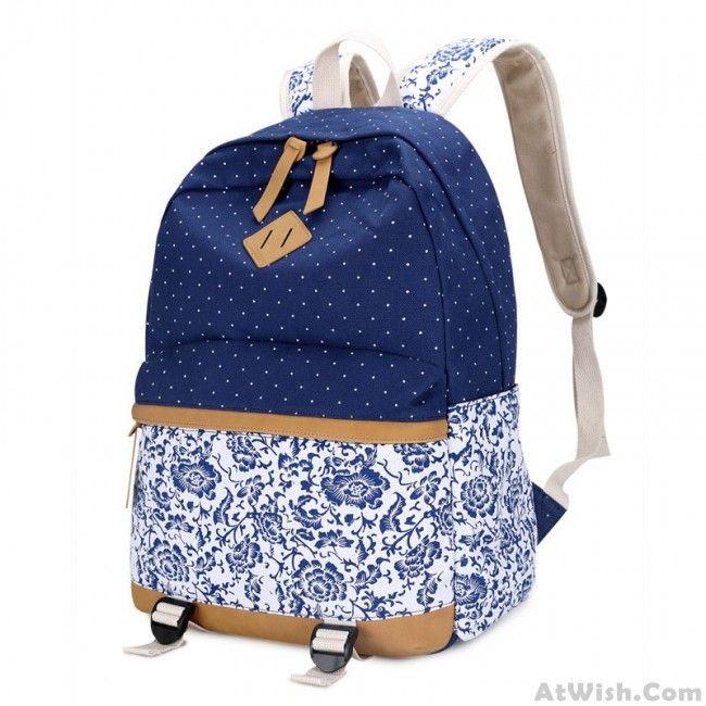 Fresh Floral  Canvas Travel Backpack Polka Dot Leisure Backpack&Schoolbag  #school #backpack #college #bag