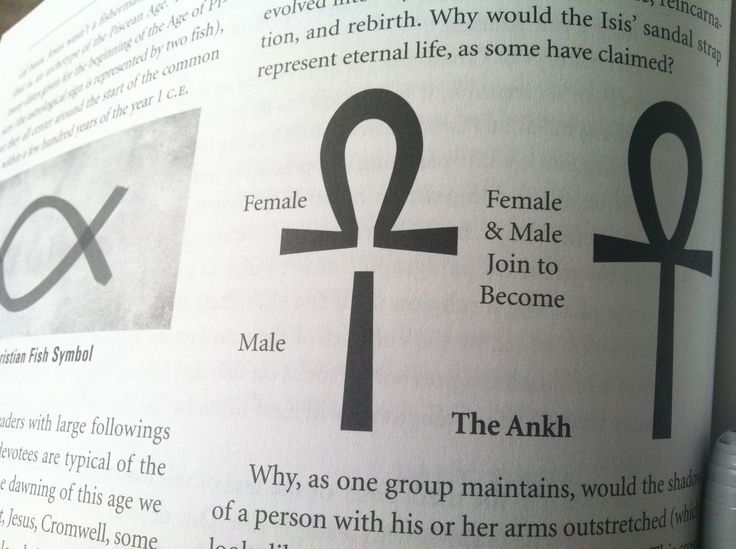 """The Ankh - (/ˈæŋk/ or /ˈɑːŋk/; Egyptian: IPA: [ʕaːnax]; U+2625 ☥ or U+132F9 ), also known as key of life, the key of the Nile or crux ansata (Latin meaning """"cross with a handle""""), was the ancient Egyptian hieroglyphic character that read """"life"""", a triliteral sign for the consonants ꜥ-n-ḫ. It represents the concept of eternal life, which is the general meaning of the symbol.The Egyptian gods are often portrayed carrying it by its loop, or bearing one in each hand, arms crossed over their…"""
