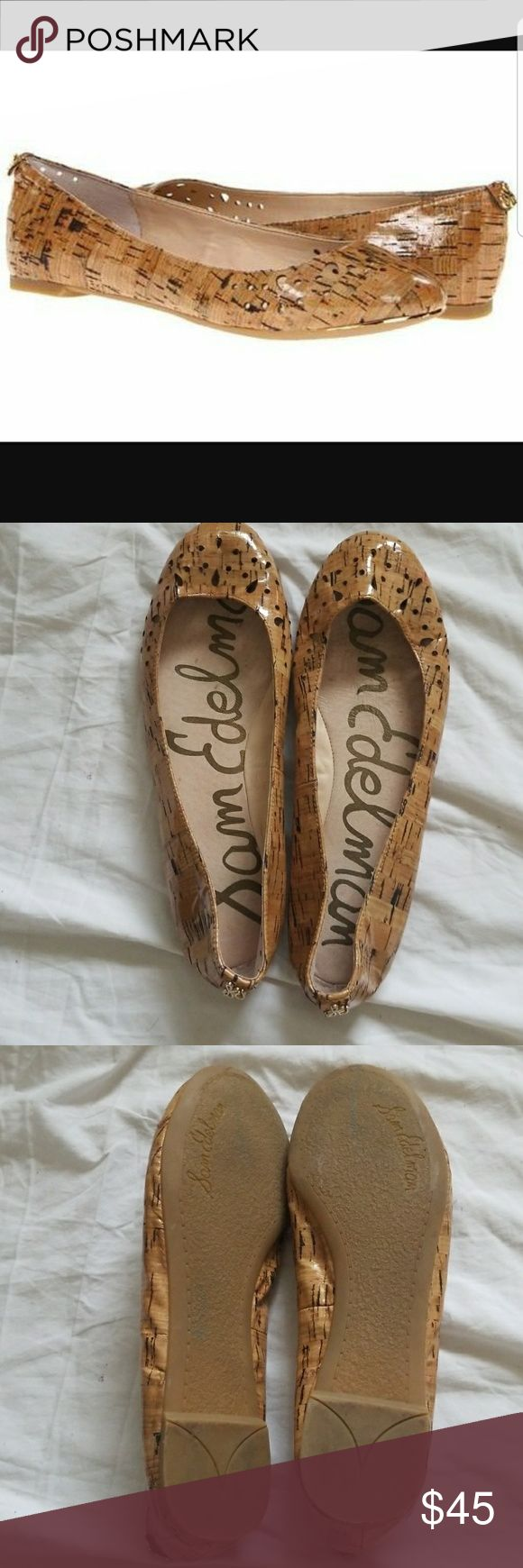 Sam Edelman corkscrew leighton flats Sam Edelman cork screw Leighton flats size 8M.  Shows minor signs of wear but still in good condition.  Has stains on inside, see pic.  But overall in good condition.  Still has shine.  Perferorated design around the heel and toes.  100% authentic.  Great with jeans or dress.  No shoebox.  No trade or PayPal. Sam Edelman Shoes Flats & Loafers