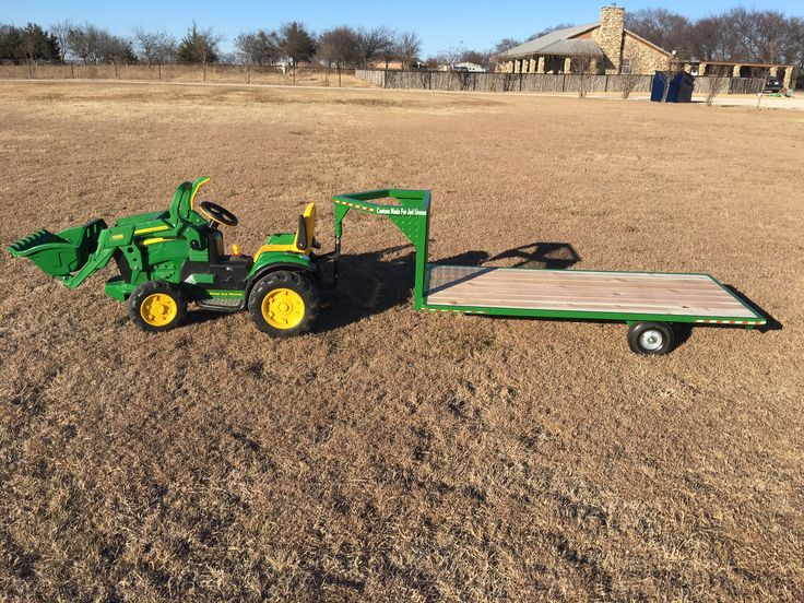 Just like Dad's gooseneck flatbed trailer 5ft long by 2ft 6in wide deck. Will attach to Power Wheels Trucks, Tractors, and UTV's! kids trailer made by Crown Fabrication and Design Decatur Tx
