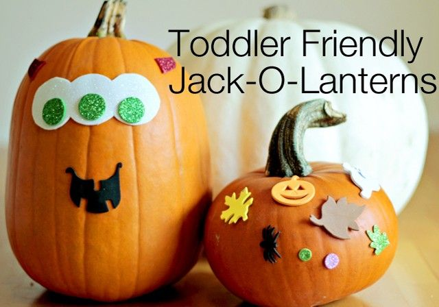 An easy way to get toddlers in on pumpkin decorating - a favorite at our house!