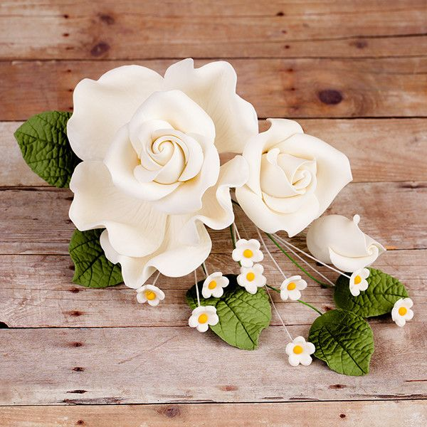 Radox Rose Sprays in White are gumpaste sugarflower cake decorations perfect as cake toppers for cake decorating fondant cakes and wedding cakes. | CaljavaOnline.com