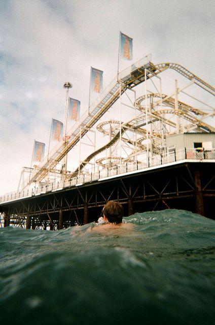 Swimming in the sea in Brighton