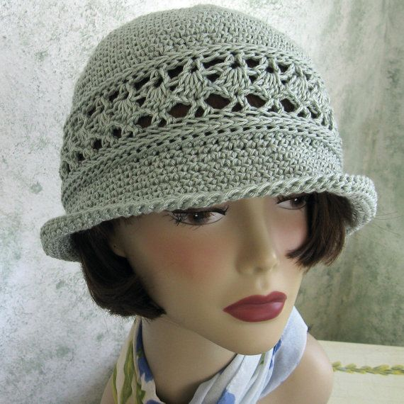 Crochet Hat Pattern Women's Summer Brimmed Hat With Mesh Band Instant Download – Cappelli all'uncinetto