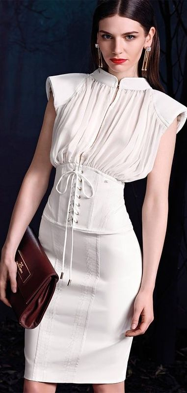 Women's fashion | Corset by Elisabetta Franchi. If the corset were made out of white brocade and the skirt was long!