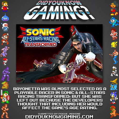 Bayonetta was almost in Sonic all-star racing?