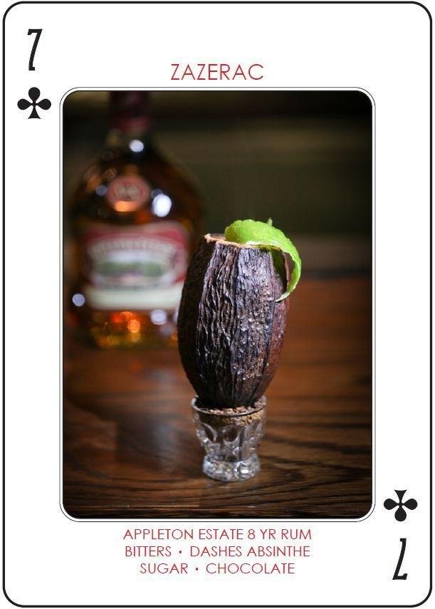 Zazerac From London's Nightjar.    Appleton Estate 8 yr. Rum.  Smoked Pimento.  La Clandestine Absinthe.  Peychaud's Bitters.  Cocoa beans.  Sugar.