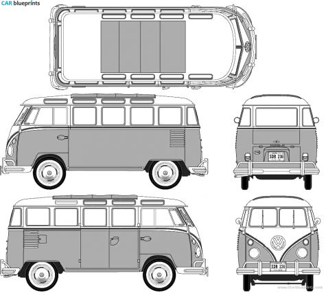 1950 volkswagen t1 samba bus blueprint geekery. Black Bedroom Furniture Sets. Home Design Ideas