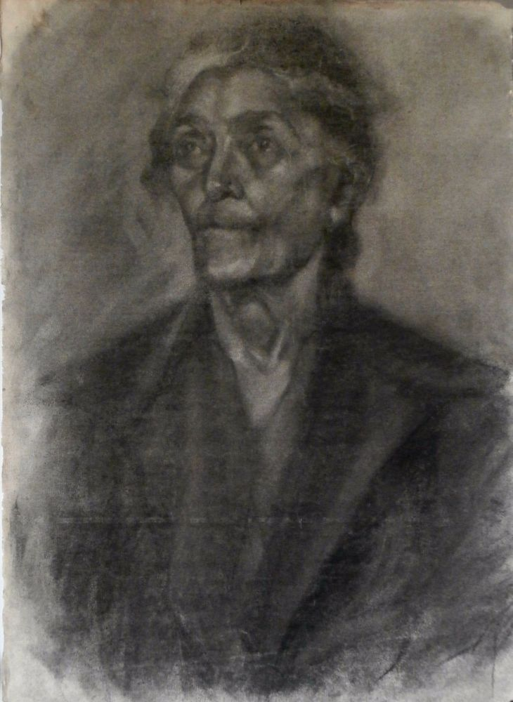 Old Woman, 1940 charcoal by Greek A. Melissarato (1908 - 2002) via Galerie Zygos