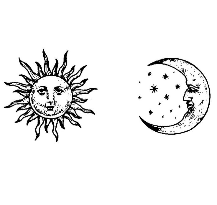Sun and moon face black and white digital drawing